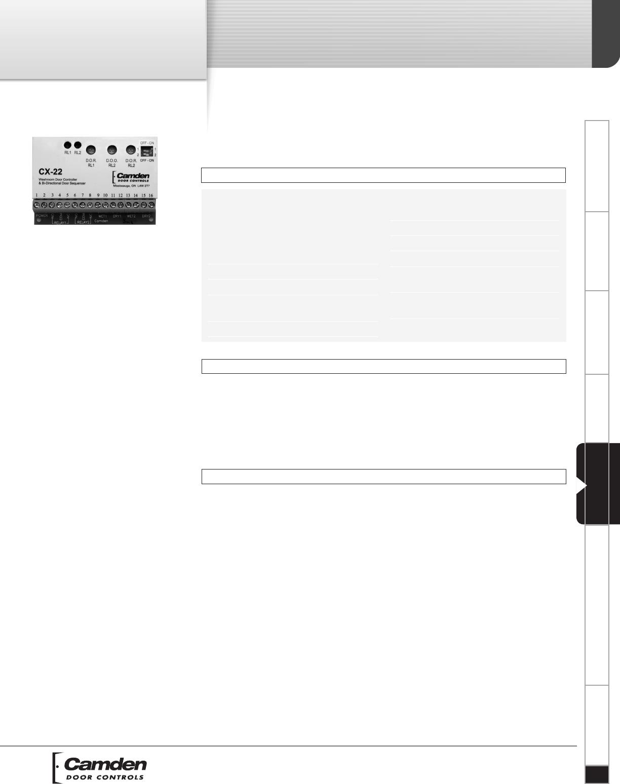 Camden Cx 22 Dual Function Relay Restroom Door Controller And Bi Electrical Directional Sequencer Spec Sheet R2