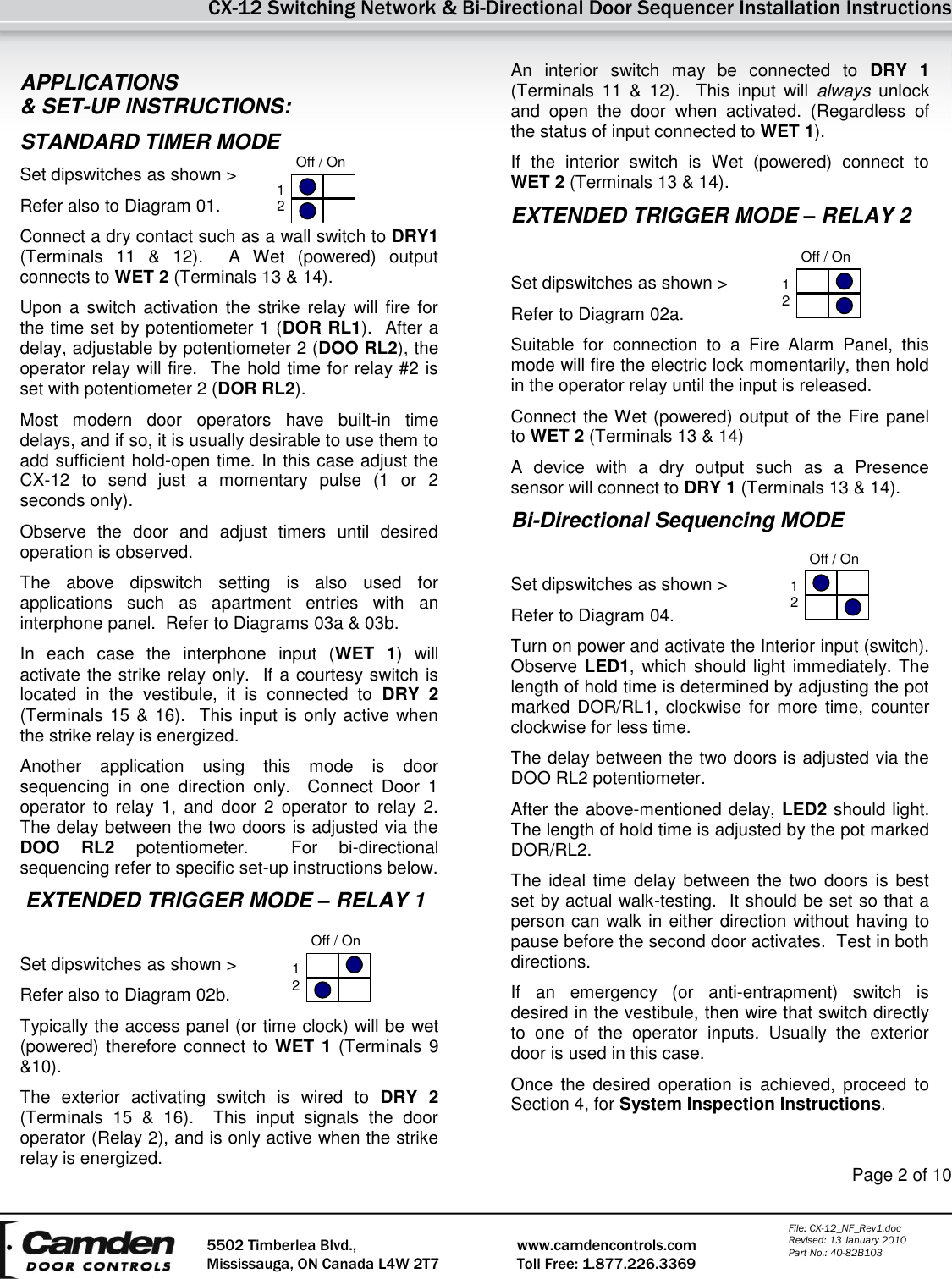 Camden Cx 12 Switching Network Installation Instructions A128 Manual Relay Switch Page 2 Of 10