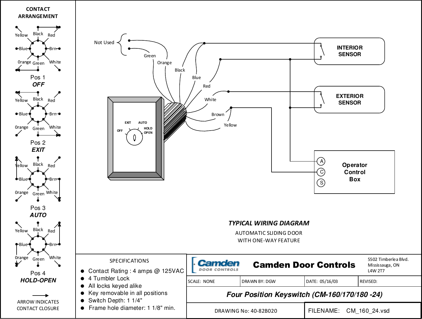 Cm Wiring Diagram Detailed Schematic Diagrams Camden Four Position Keyswitch 160 170 180 24 Ez