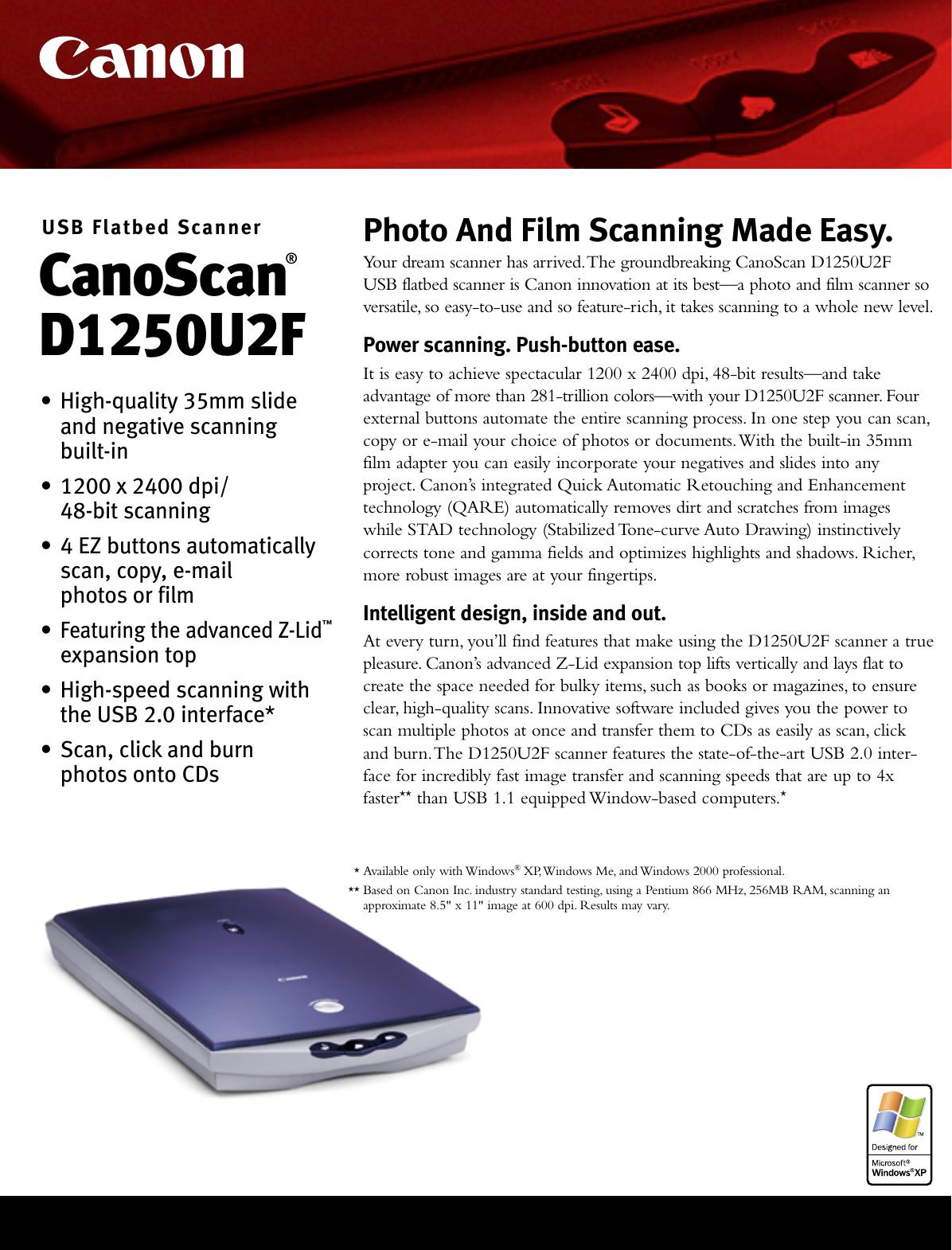 CANON CANOSCAN D1250U2F DRIVERS PC