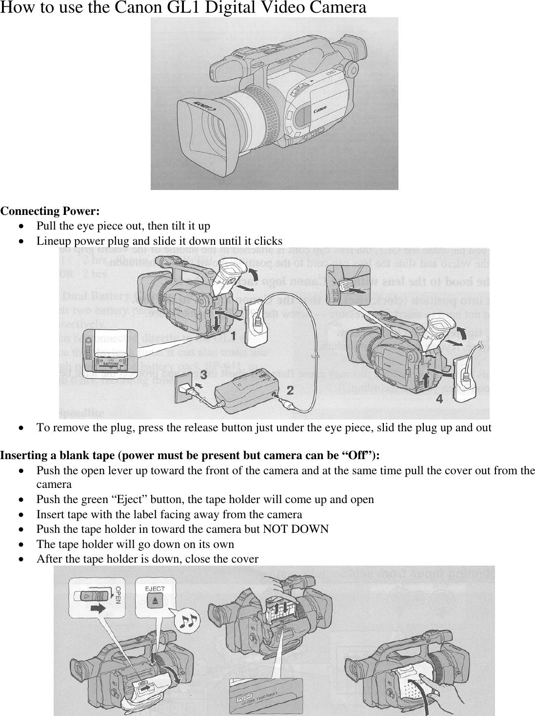 canon gl1 users manual how to use the digital video camera rh usermanual wiki Canon GL1 GL1 Gun