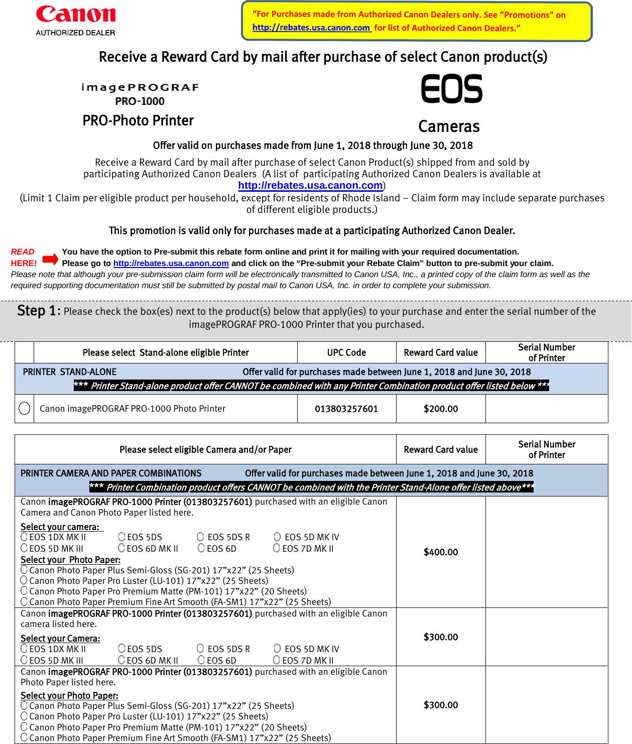 Canon Image PROGRAF & EOS Cameras Mail in Rebate Pro 1000