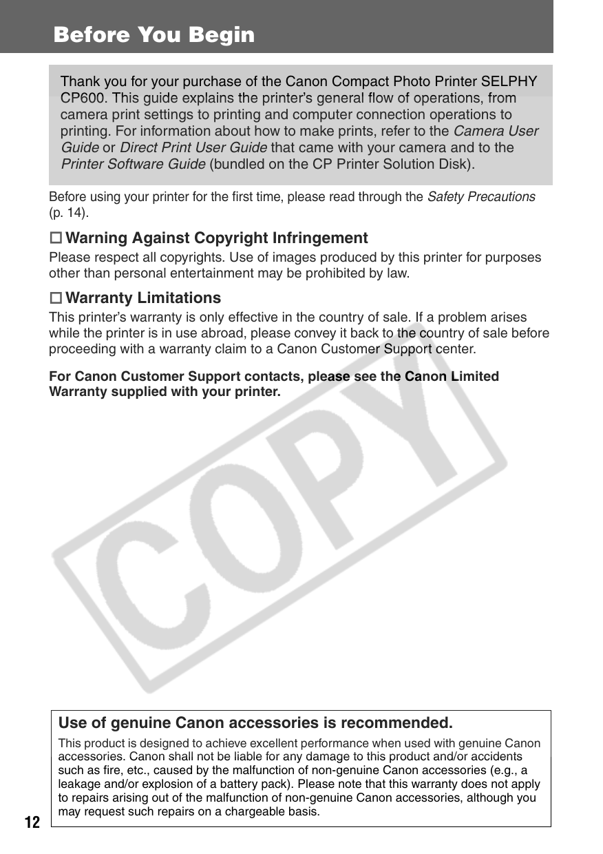 Canon Selphy Cp600 Users Manual