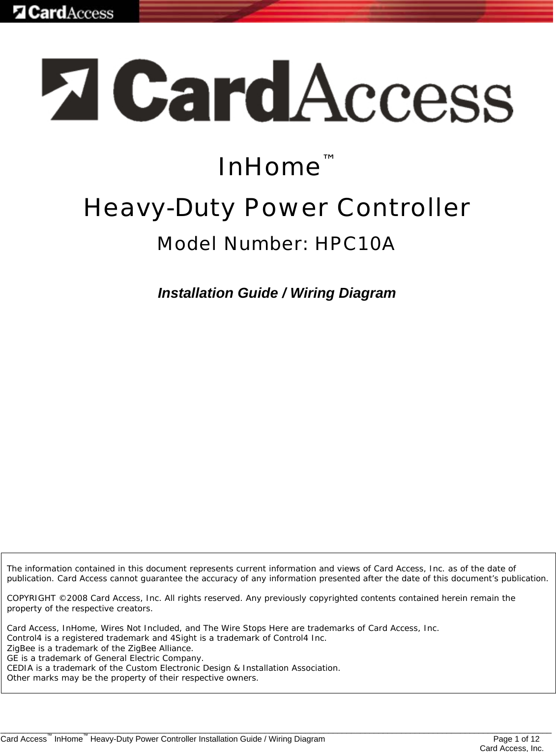 Card Access Hpc10 Heavy Duty Power Controller User Manual Exhibit 8 Wiring Diagram
