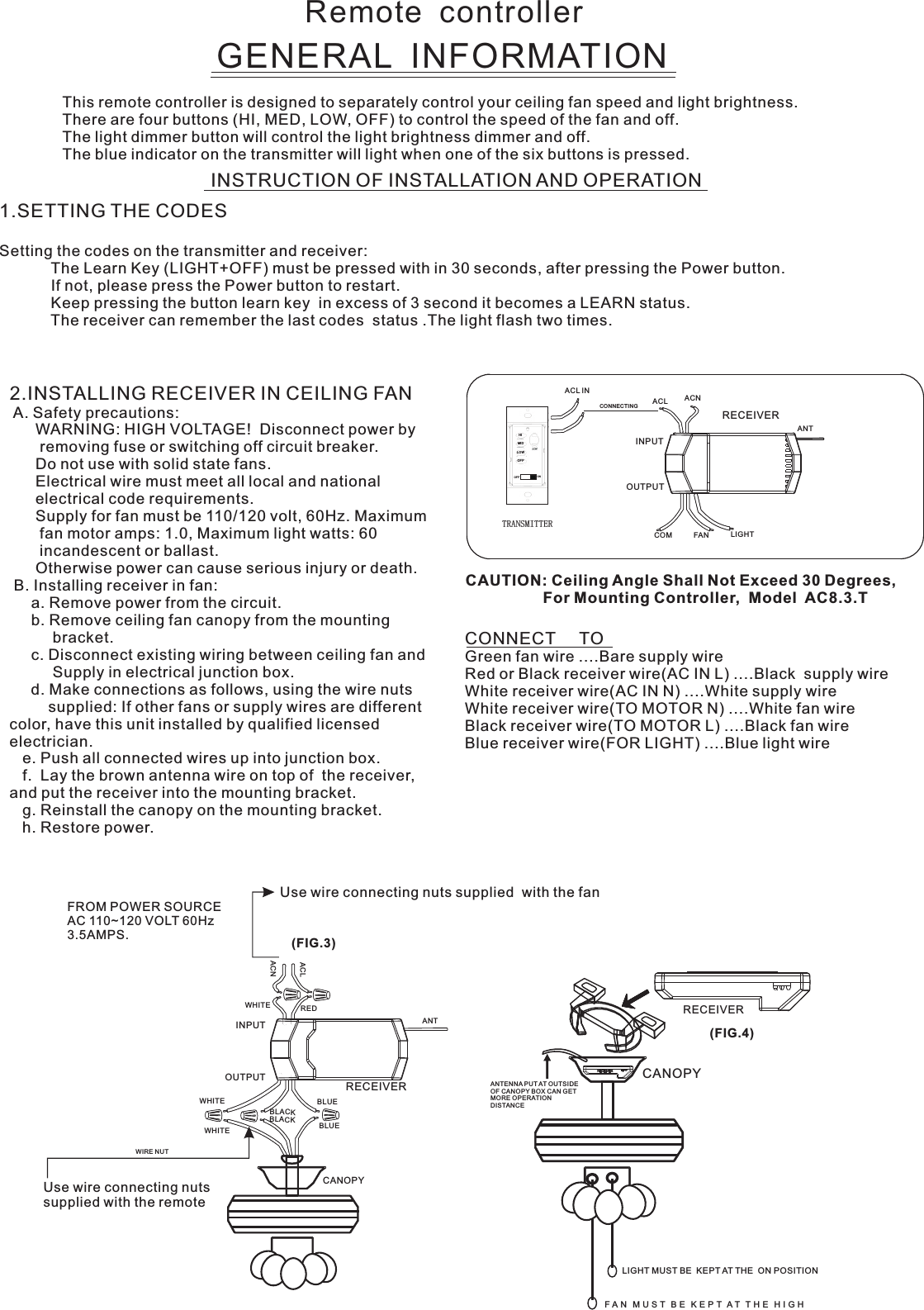 Carewell Electric Technology Fan59t Remote Control User Manual Ac8 59t 3 Speed 115 Volt Bloweer Motor Wiring Schematic