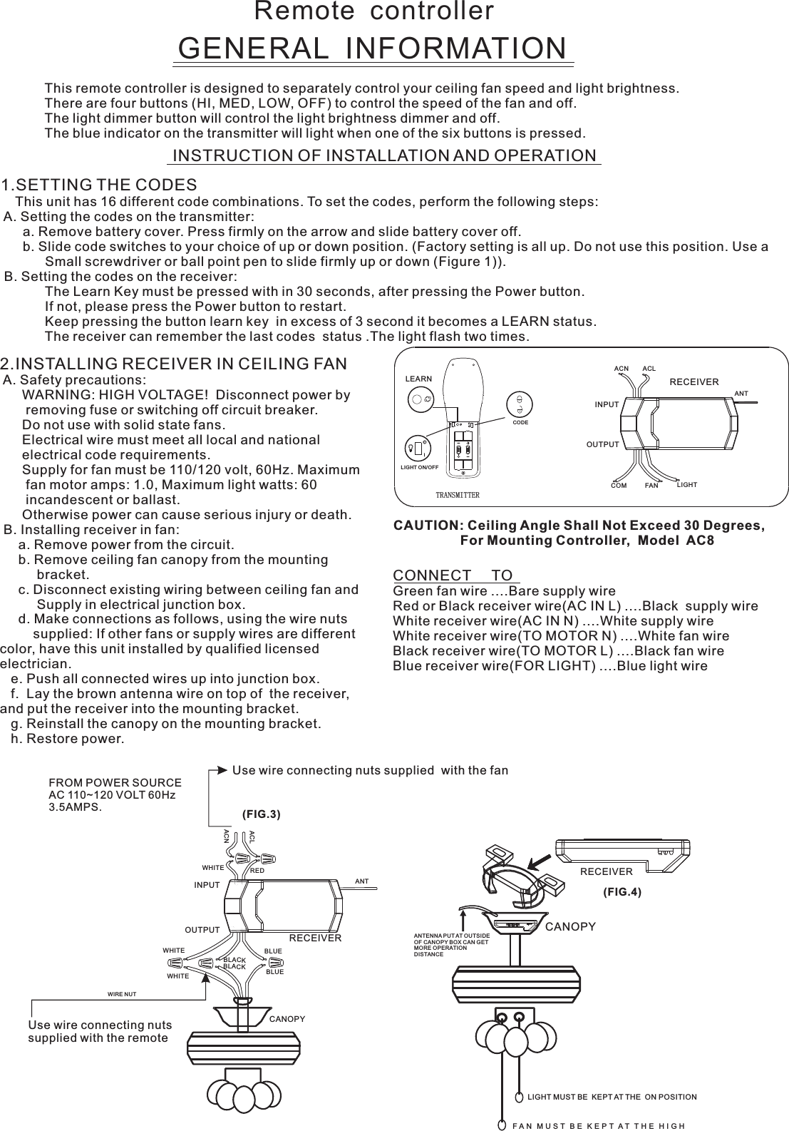 Carewell Electric Technology Fan61t3sp1 Remote Control User Manual Ac8 61t 3sp1