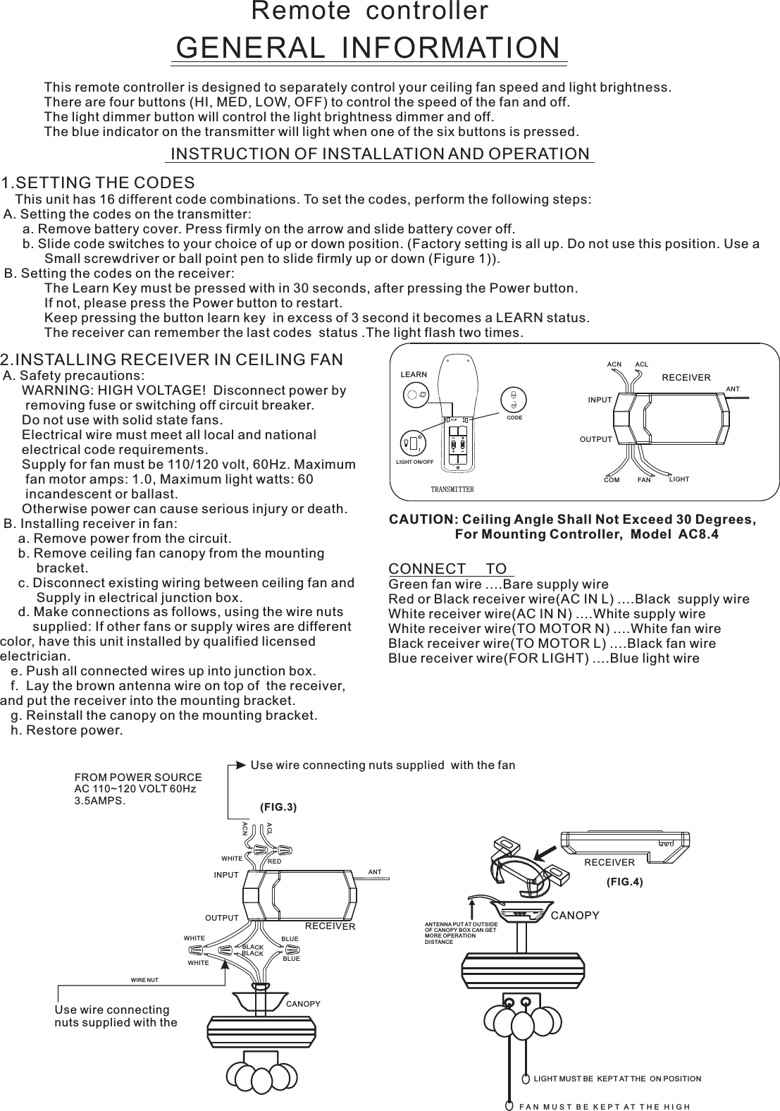Carewell Electric Technology Fan61t4sp1 Remote Control User Manual Ac8 61t 4sp1