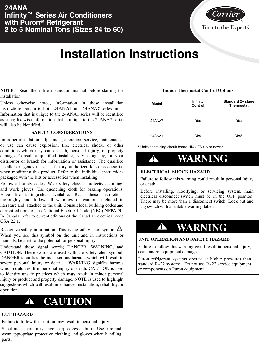 Carrier 24ANA 6SI User Manual To The 7a7ec158 2c58 4274 b34e