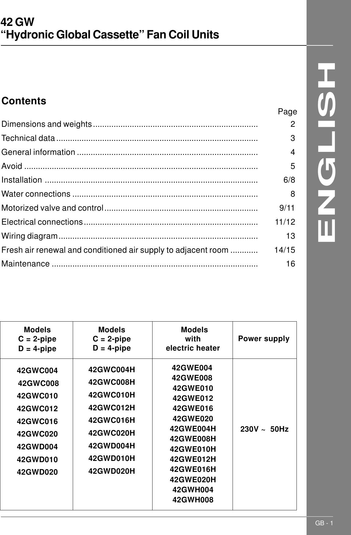 Carrier 42Gw Users Manual GB_42GW