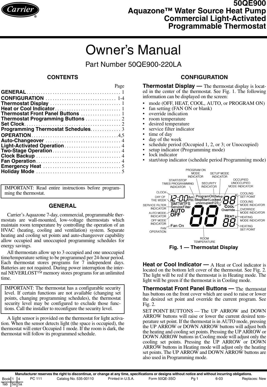 Carrier Aquazone 50Qe900 Users Manual
