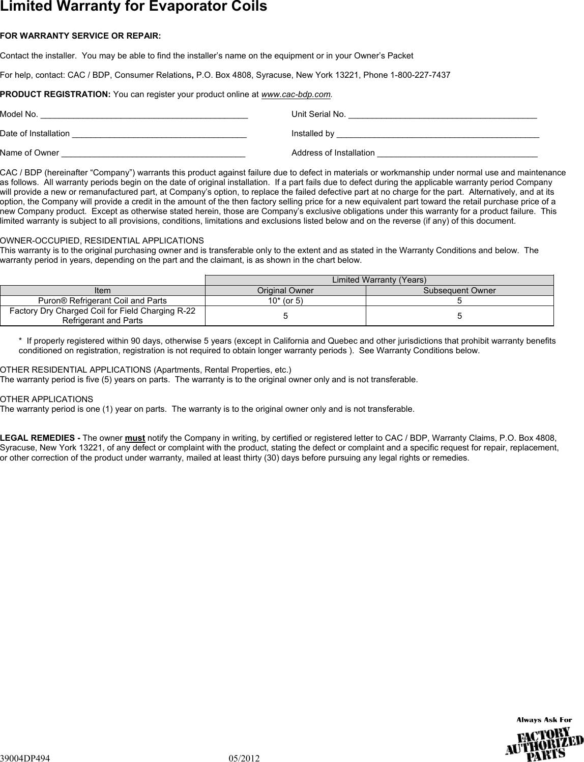 Carrier Capvu Warranty 39004DP494
