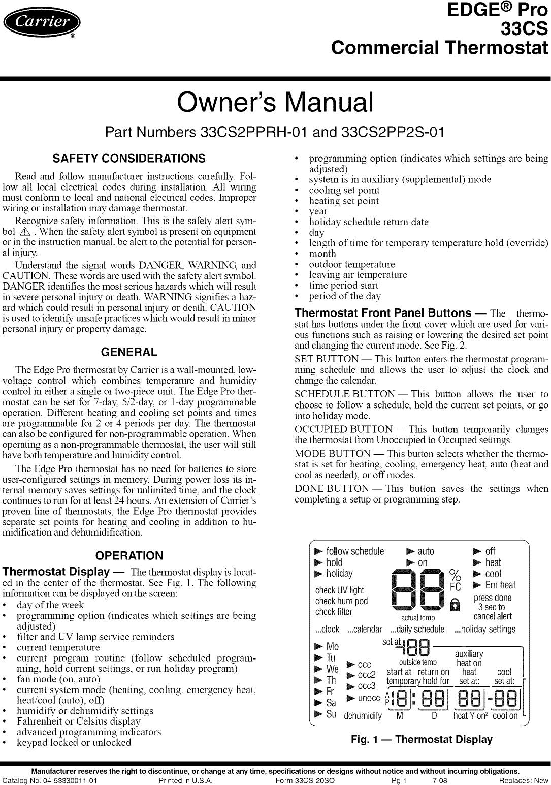 Carrier Edge Pro 33cs Users Manual