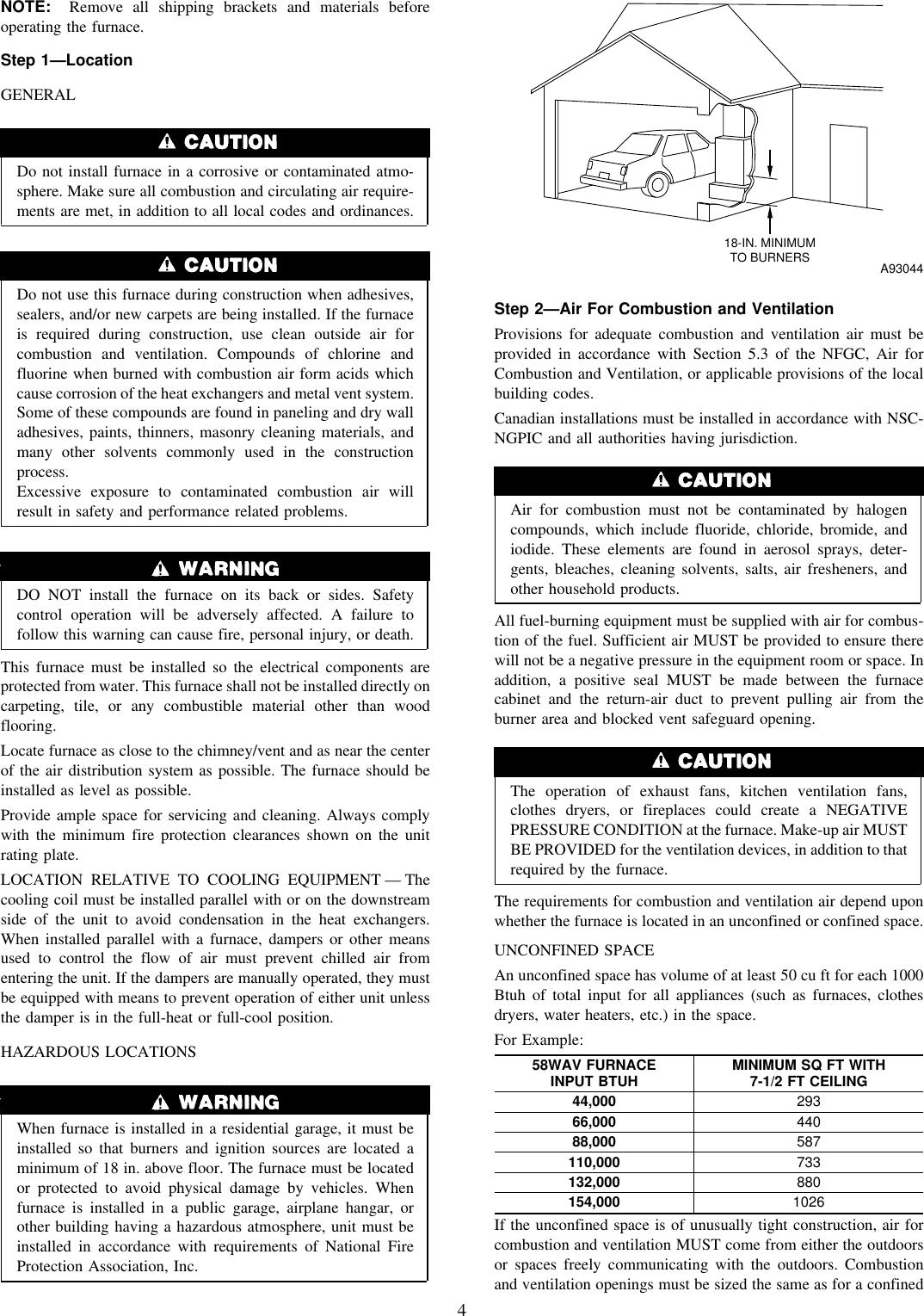 Carrier Weathermaker 8000 58Wav Owners Manual