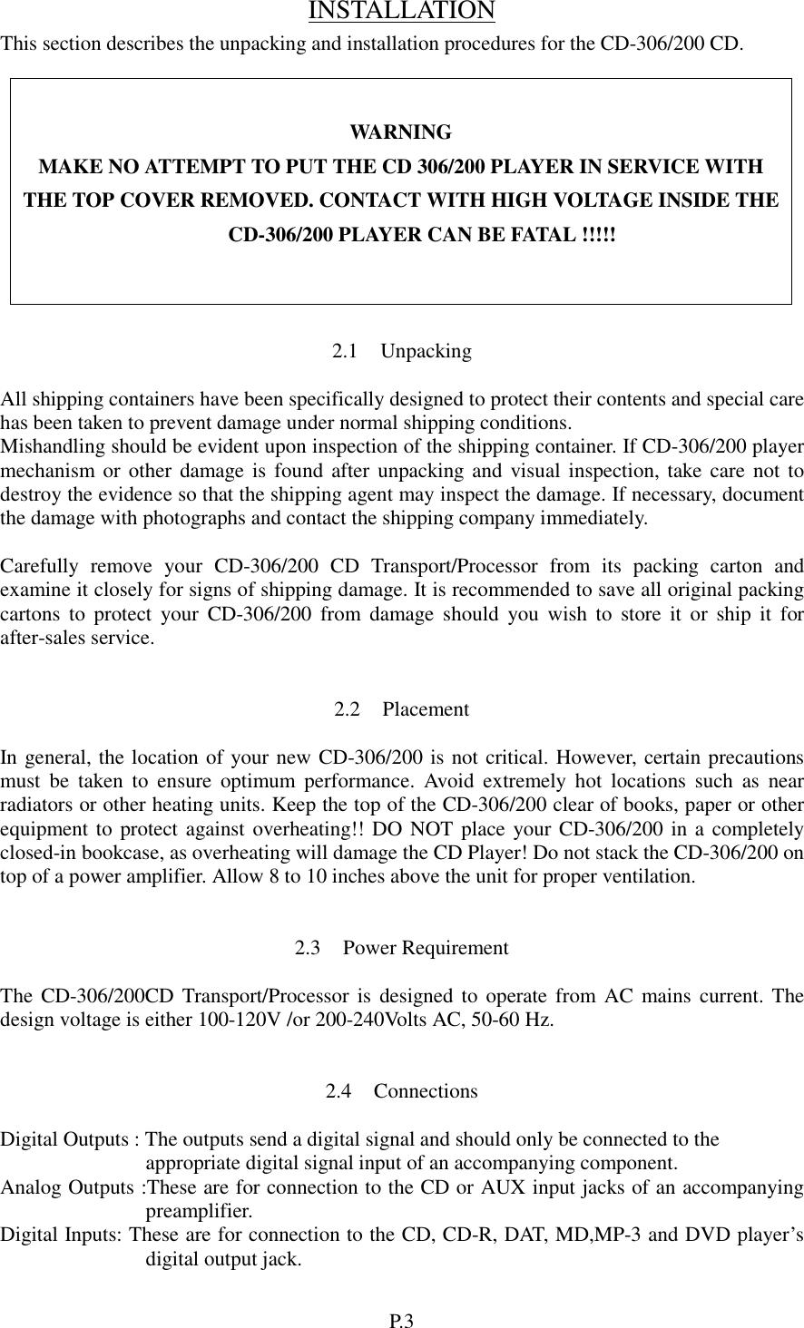 Cary Audio Design Cd Users Manual Operating - Audio design document