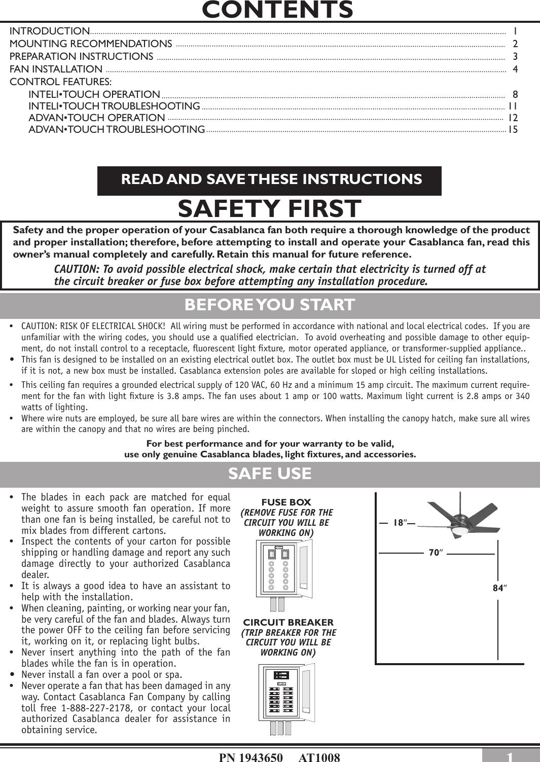 Casablanca Fan Company Stealth Circuit Breaker 32xxa Users Manual Change Fuse In Box
