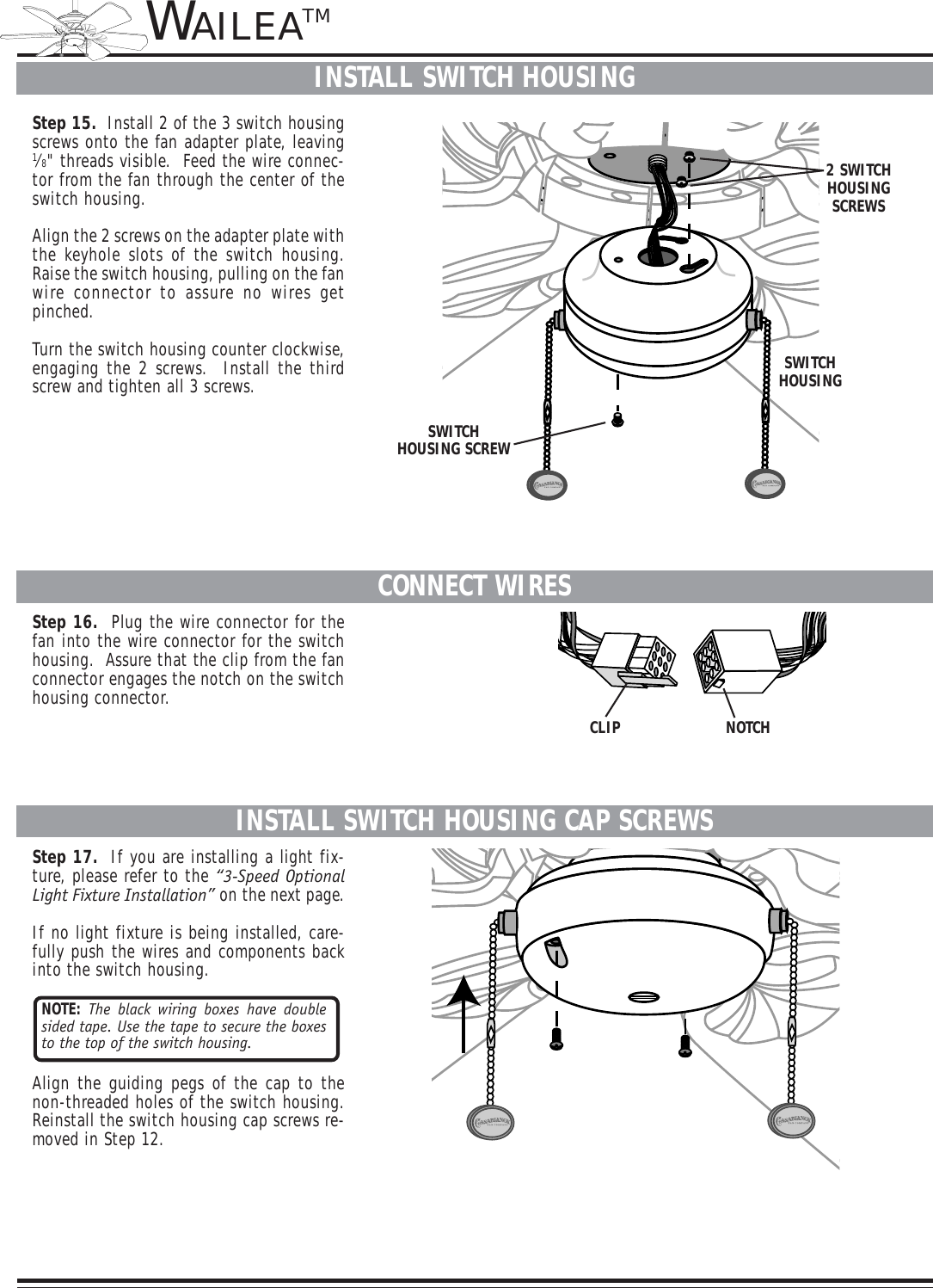 Casablanca Fan Company Wailea Ceiling 41uxxd Users Manual Fans With Light Wiring Diagram Page 8 Of 10