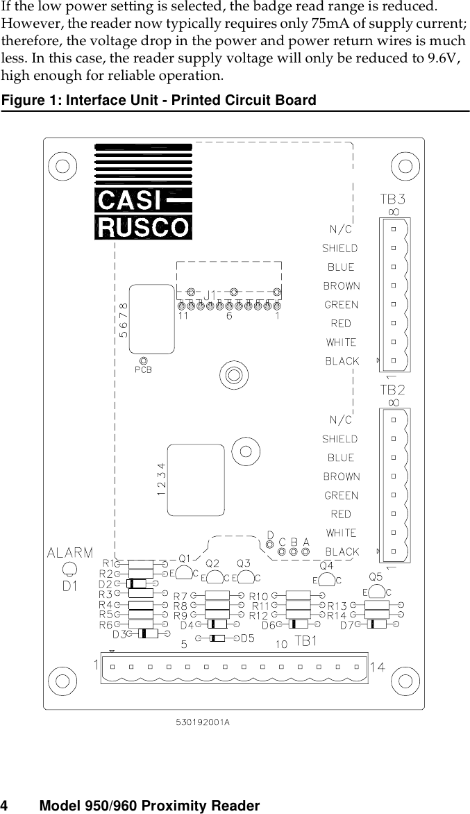 Casi Rusco 950 960 Proximity Readers User Manual Wiring Diagram 96v 4 Model Readerif The Low Power Setting Is Selected Badge