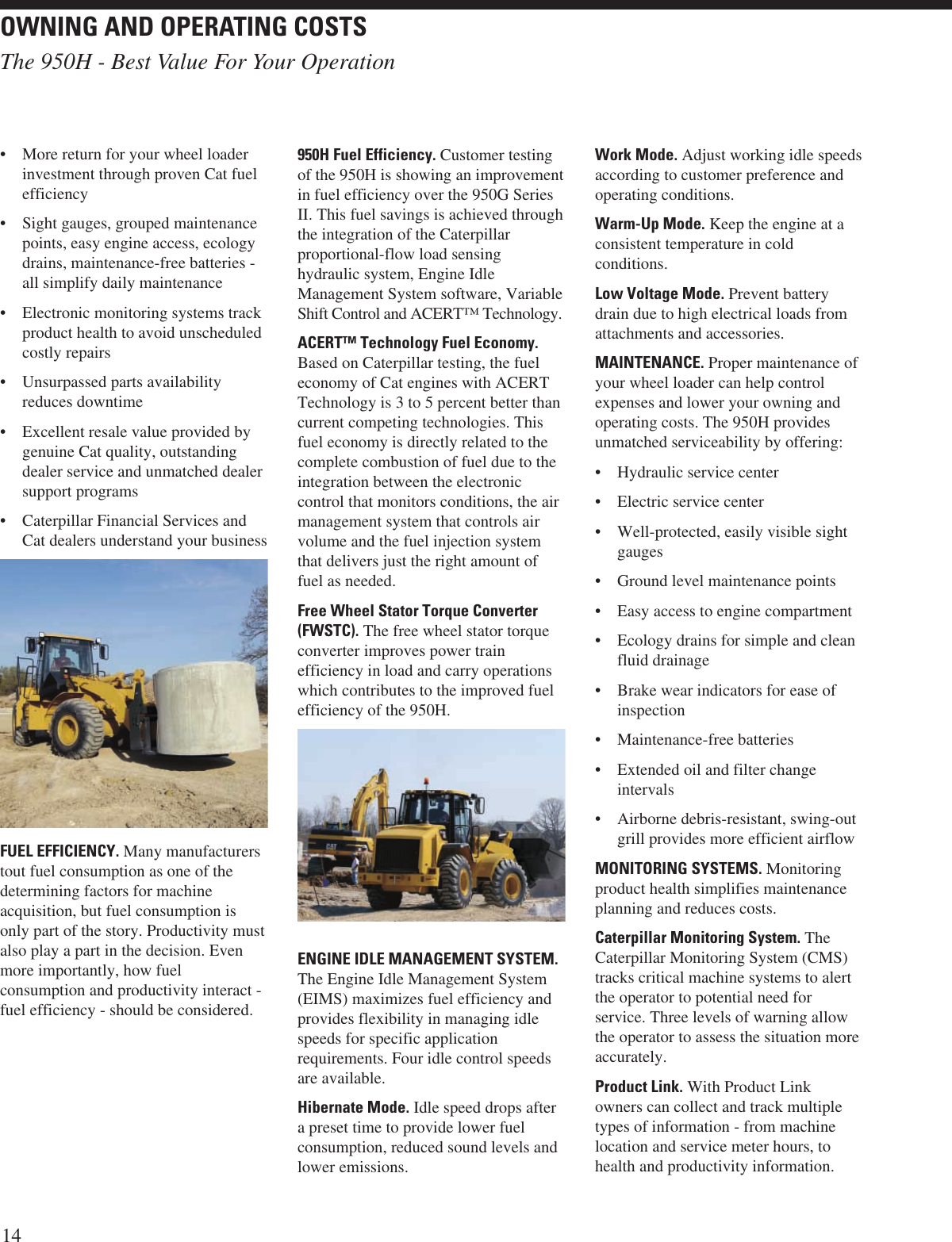 Cat 950H Users Manual Specalog For Wheel Loader, AEHQ5675 01