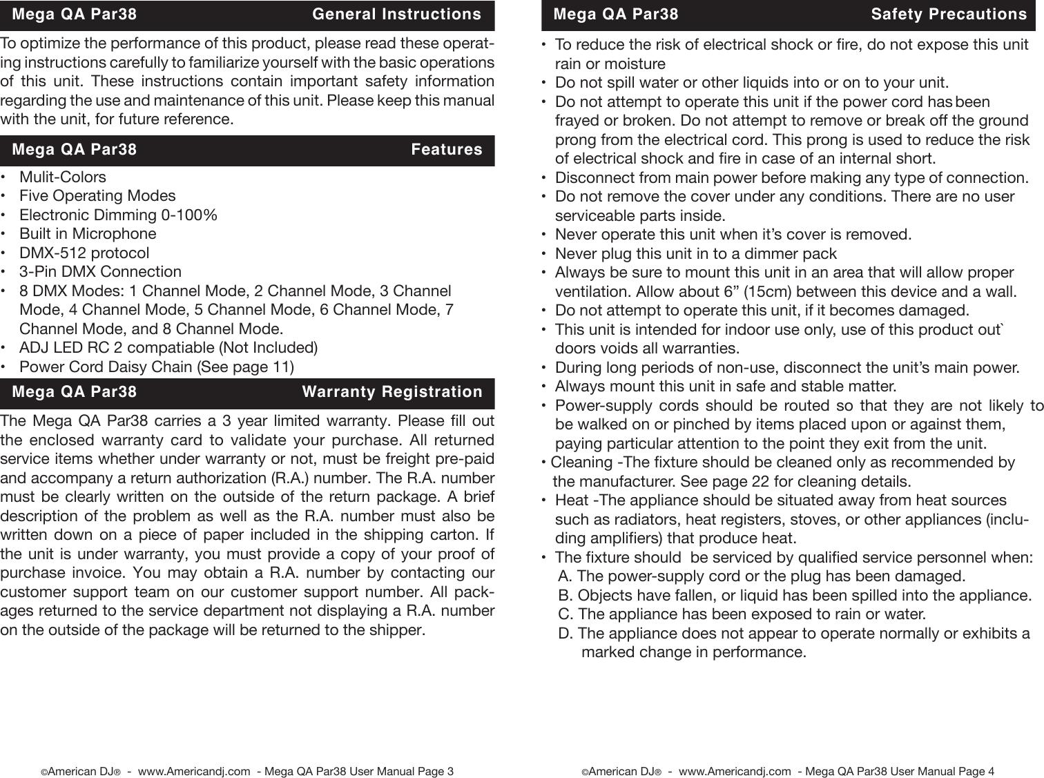 Mega Qa Par38 Cdb User Manual Dmx Daisy Chain Wiring Diagram Page 2 Of 12