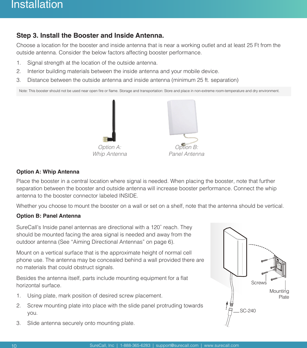 Cellphone Mate SureCall F4HOME 5 band Cellular booster User Manual