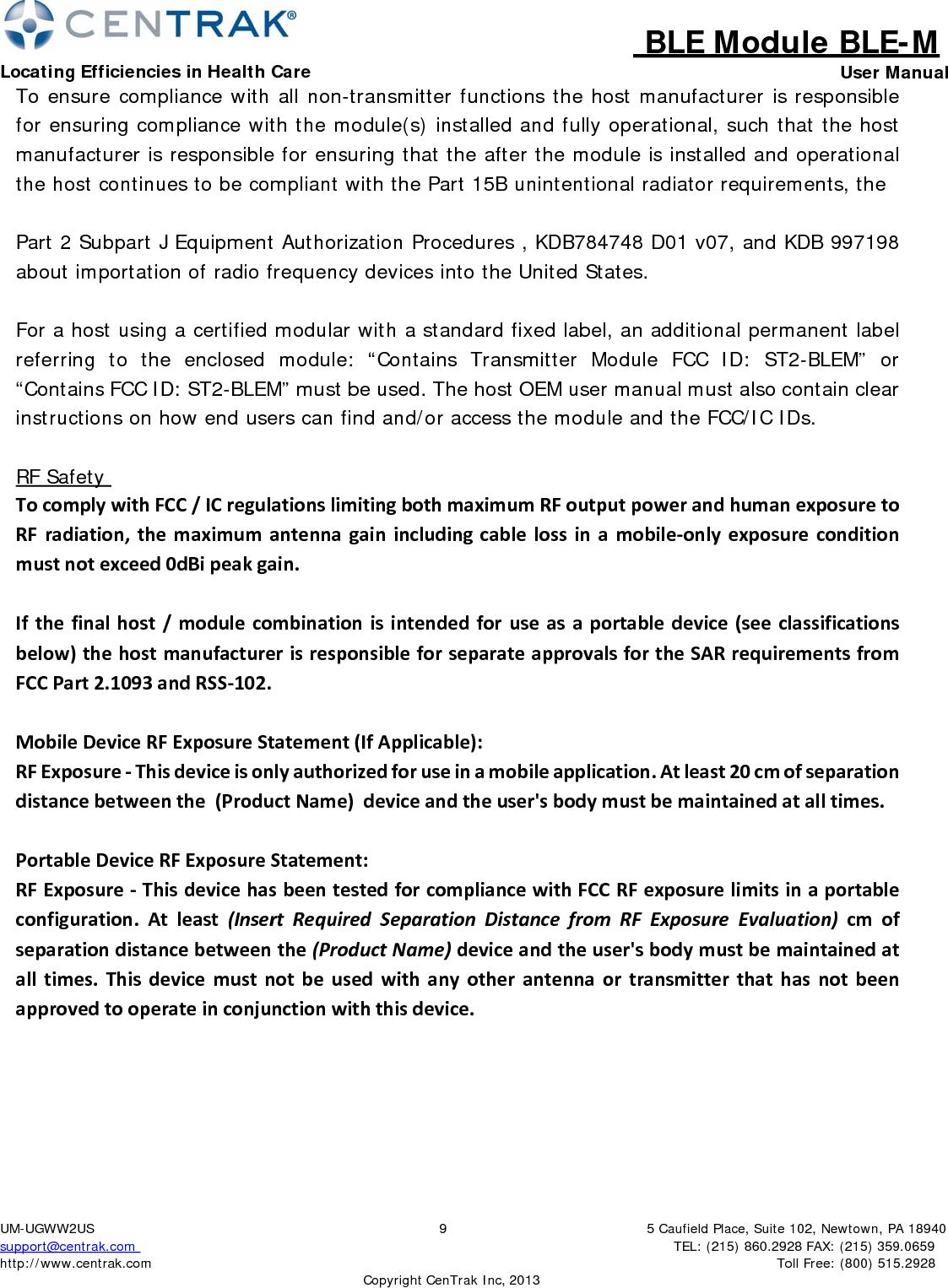 Centrak BLEM Centrak BLE Module BLE-M User Manual