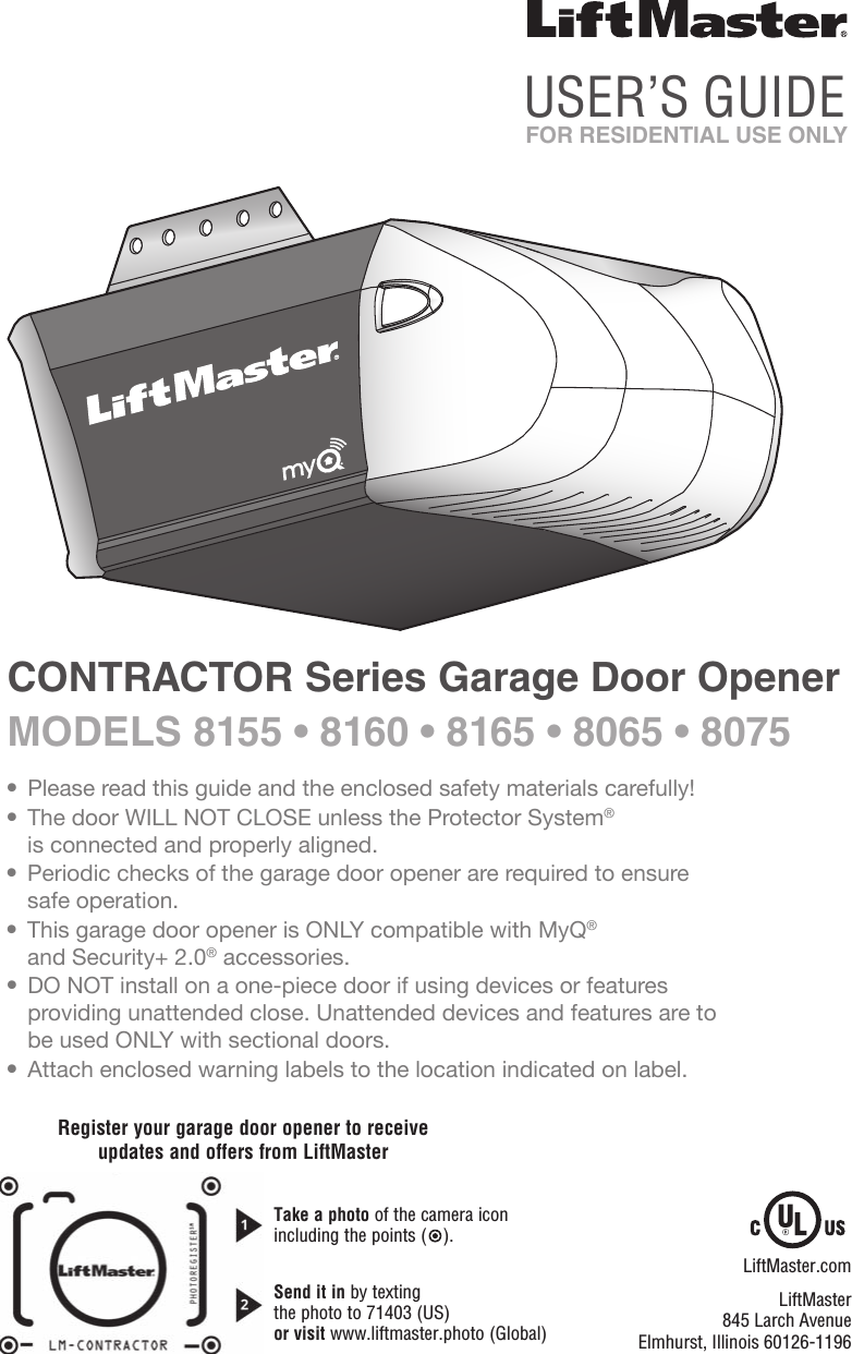 Chamberlain Group The 8621 Models 8160 8160rgd And 8160la Dc Garage Door Opener On Access Master Wiring Contractor Openers User Manual 114a4415e Indd