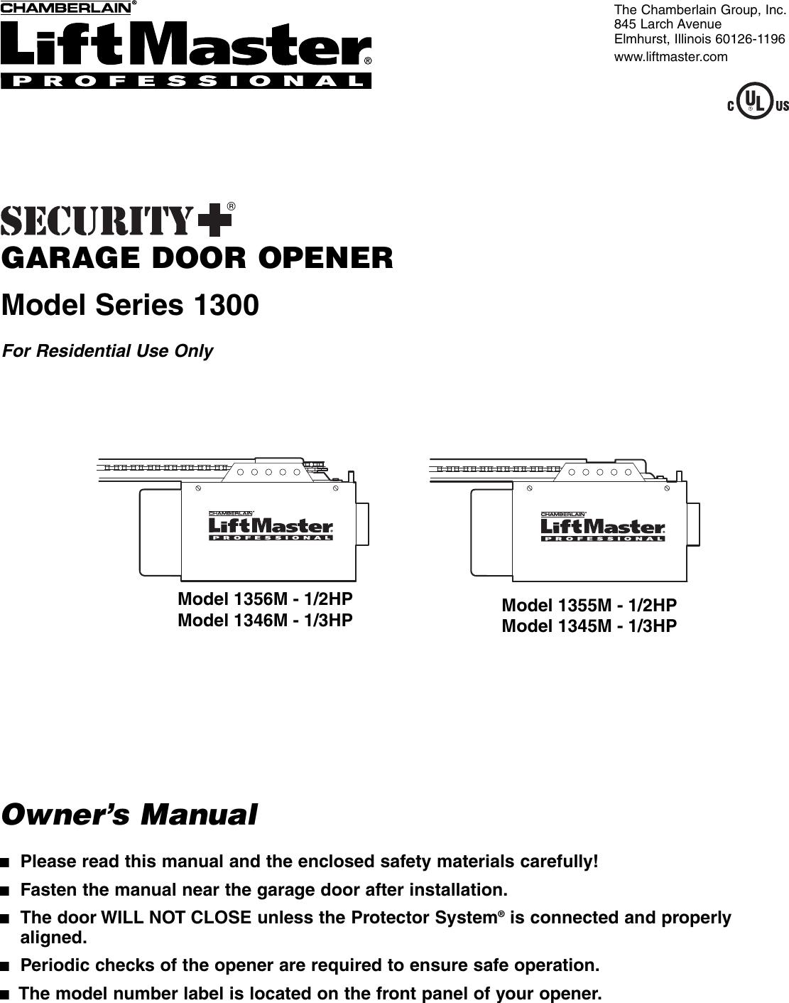 Chamberlain 1345m Users Manual 114a3587 1m Liftmaster Garage Door Receiver Logic Circuit Board