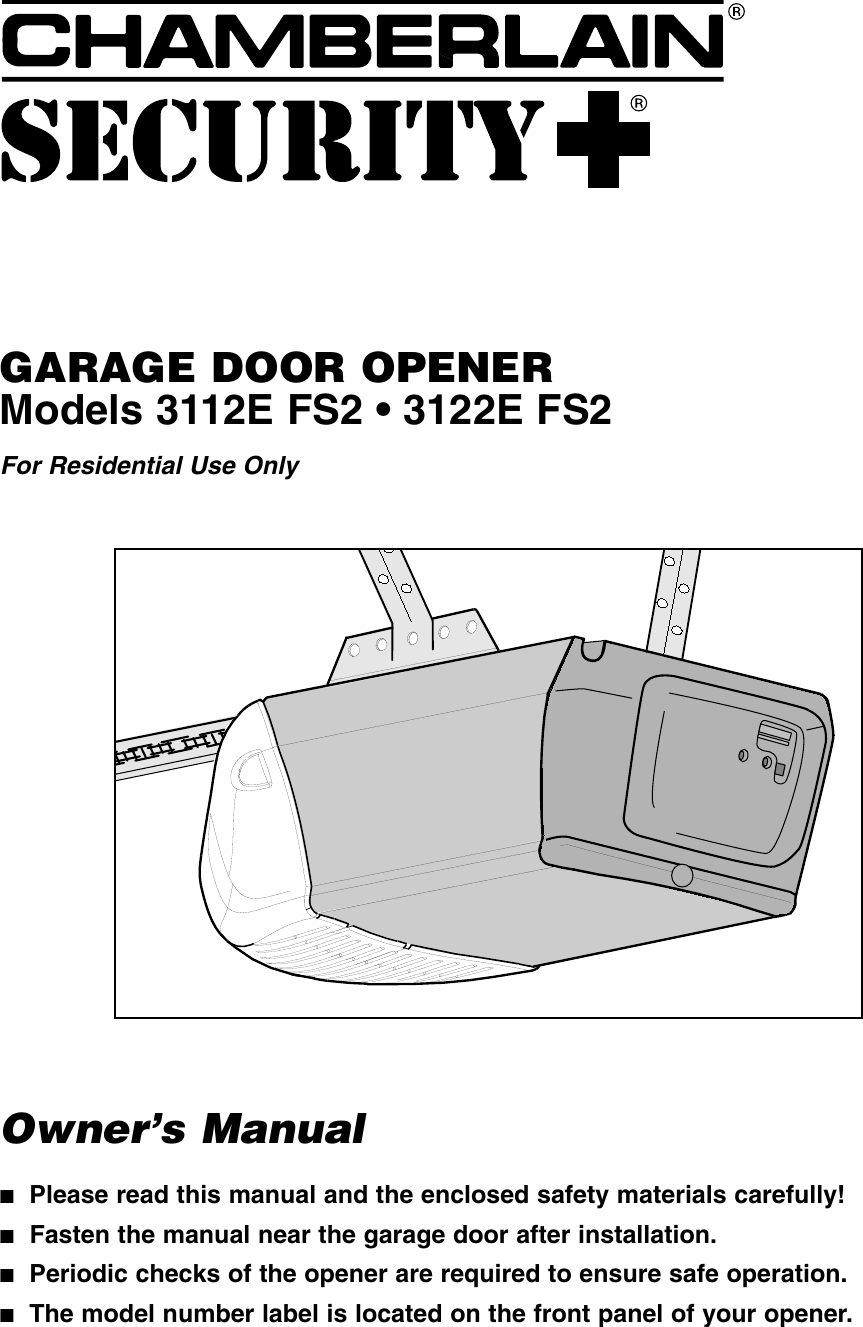 Chamberlain 3112E Fs2 Owners Manual 114A2680