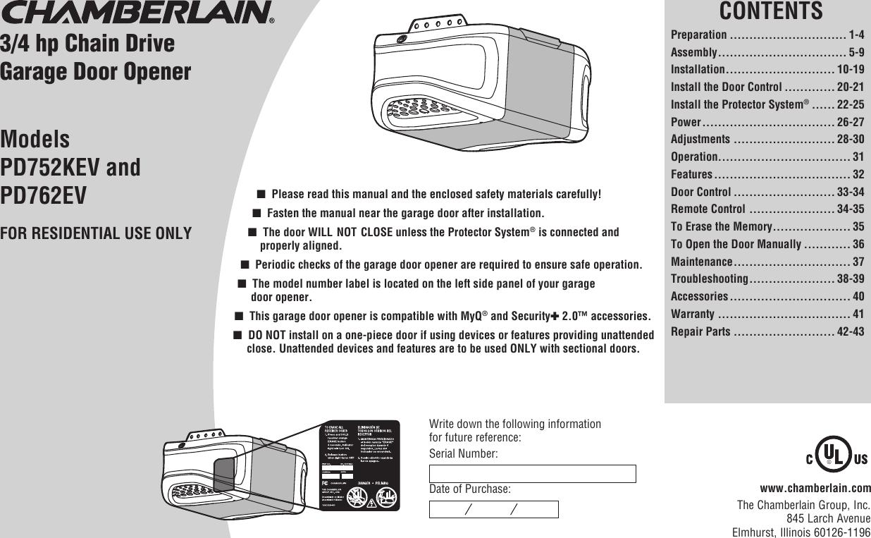 chamberlain maintenance manual