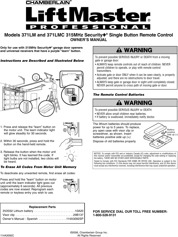 chamberlain 371lm users manual 114a3092 rh usermanual wiki Lift Master 371LM Lift Master 371LM