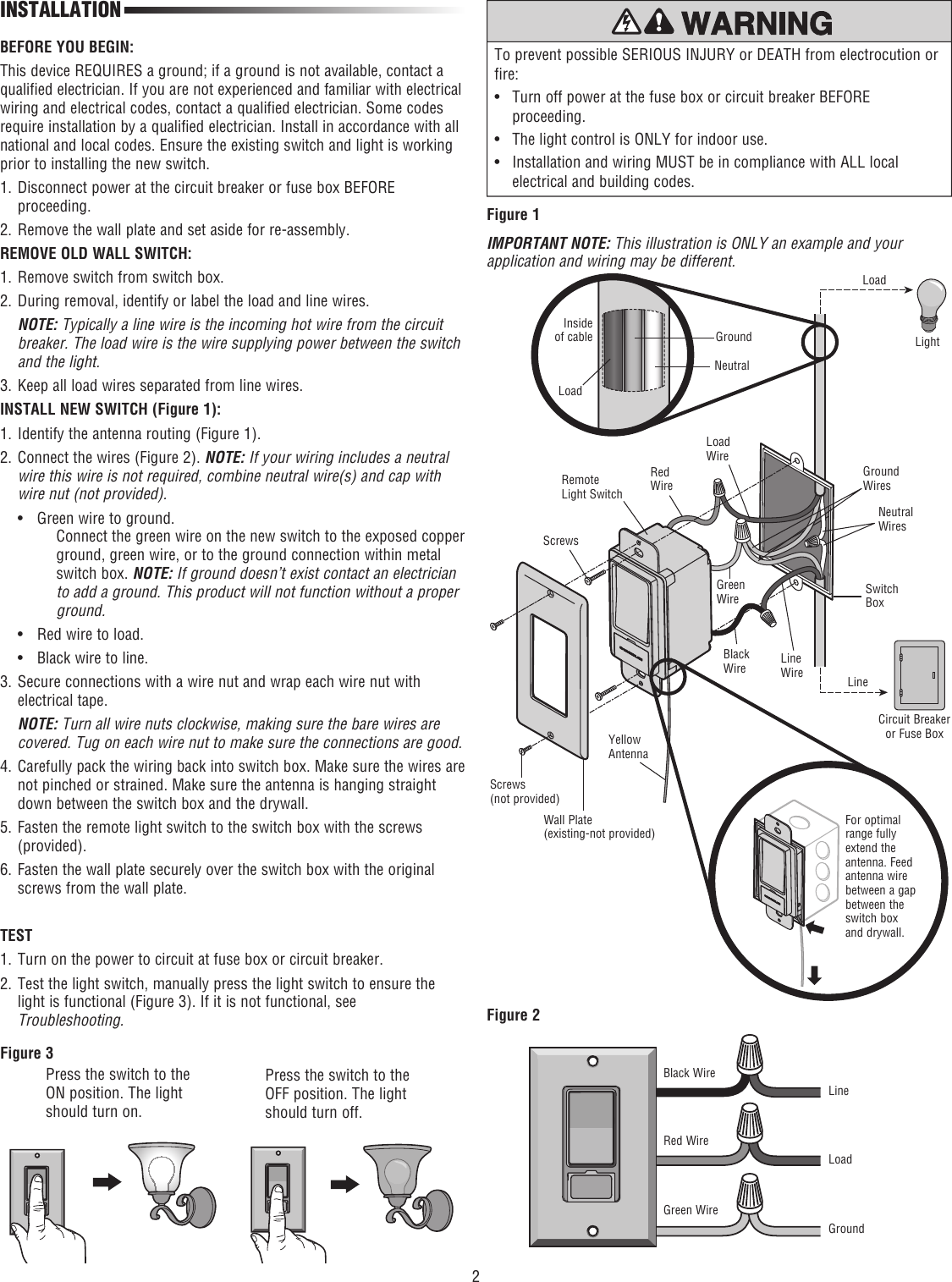 page 2 of 4 - chamberlain chamberlain-wslcev-remote-light-switch-
