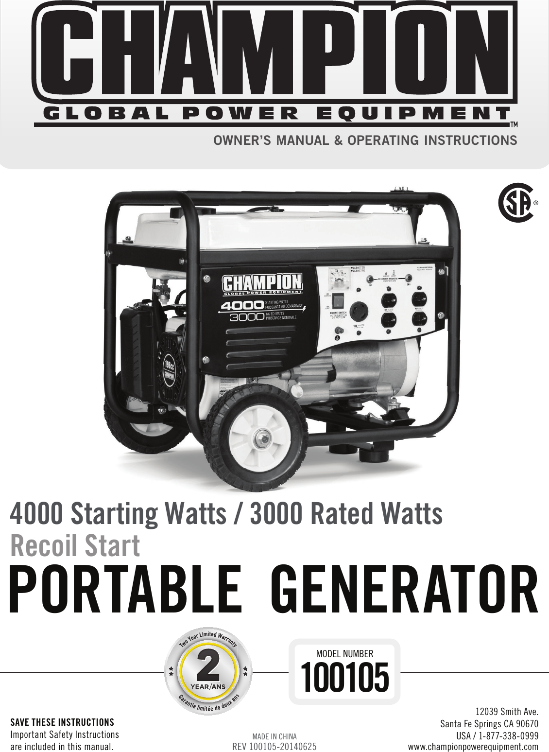 Champion Generator 4000 Wiring Diagram