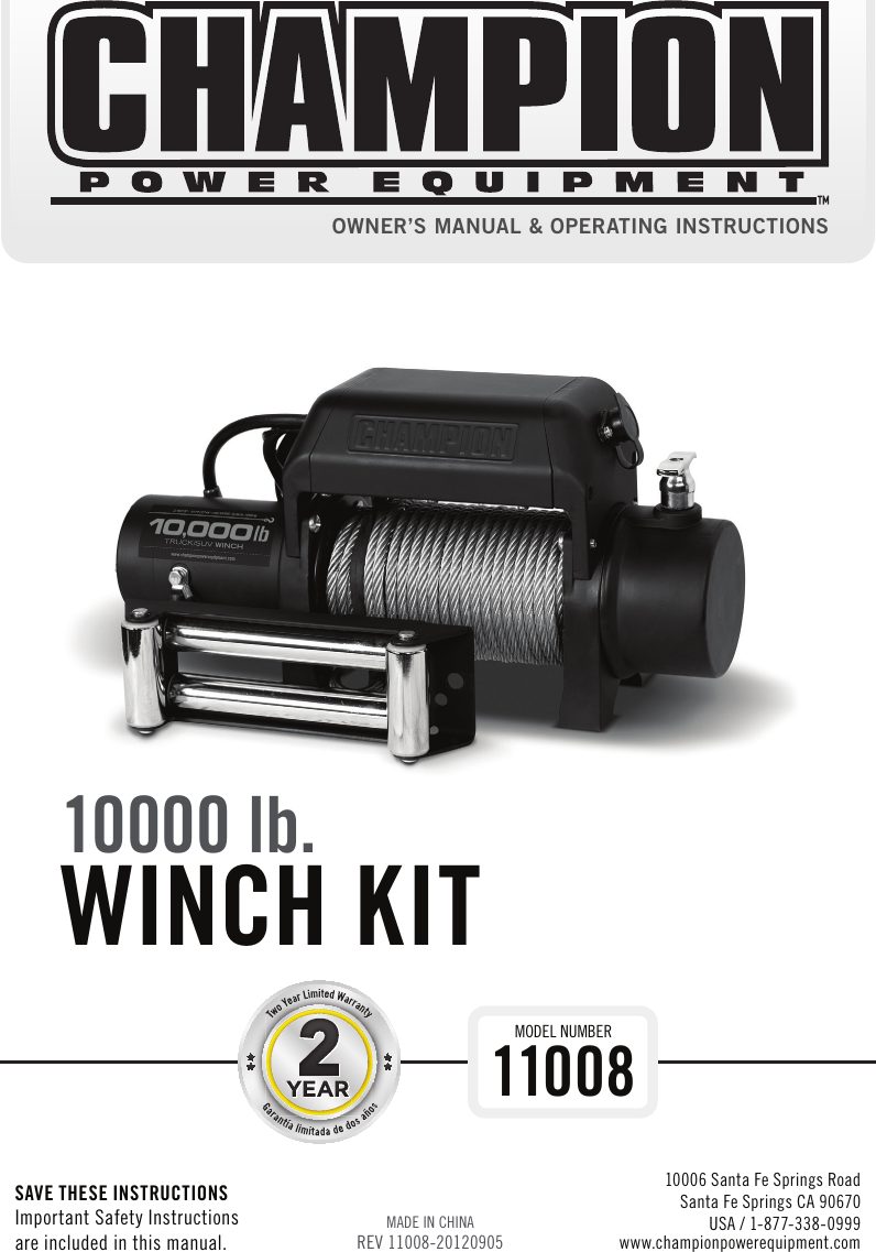 Champion Power Equipment 11008 Owners Manual English 09 8000 Lb Winch Wiring Diagram 05 2012