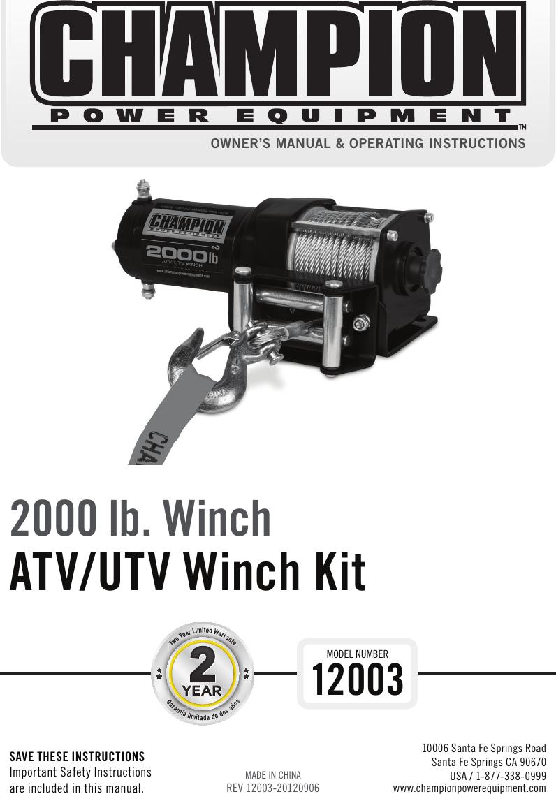 Champion 2000 Lb Winch Wiring Diagram