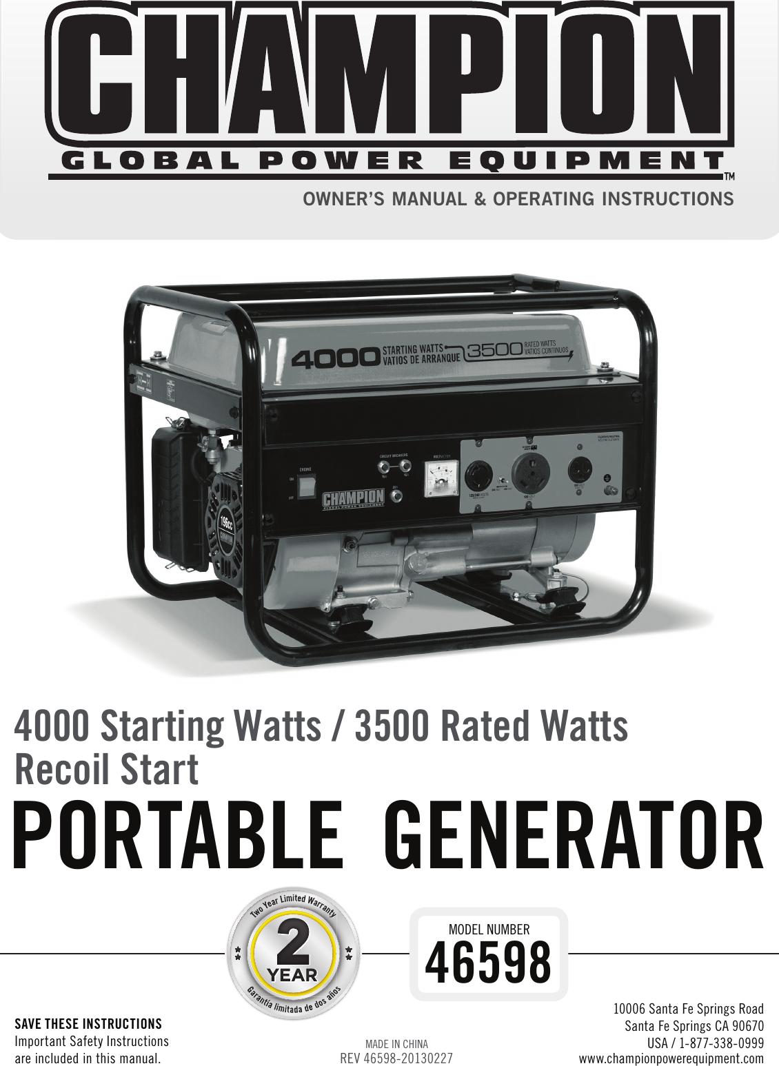 Champion Power Equipment 46598 Owners Manual English 02 Trailer Plug Wiring Diagram 27 2013