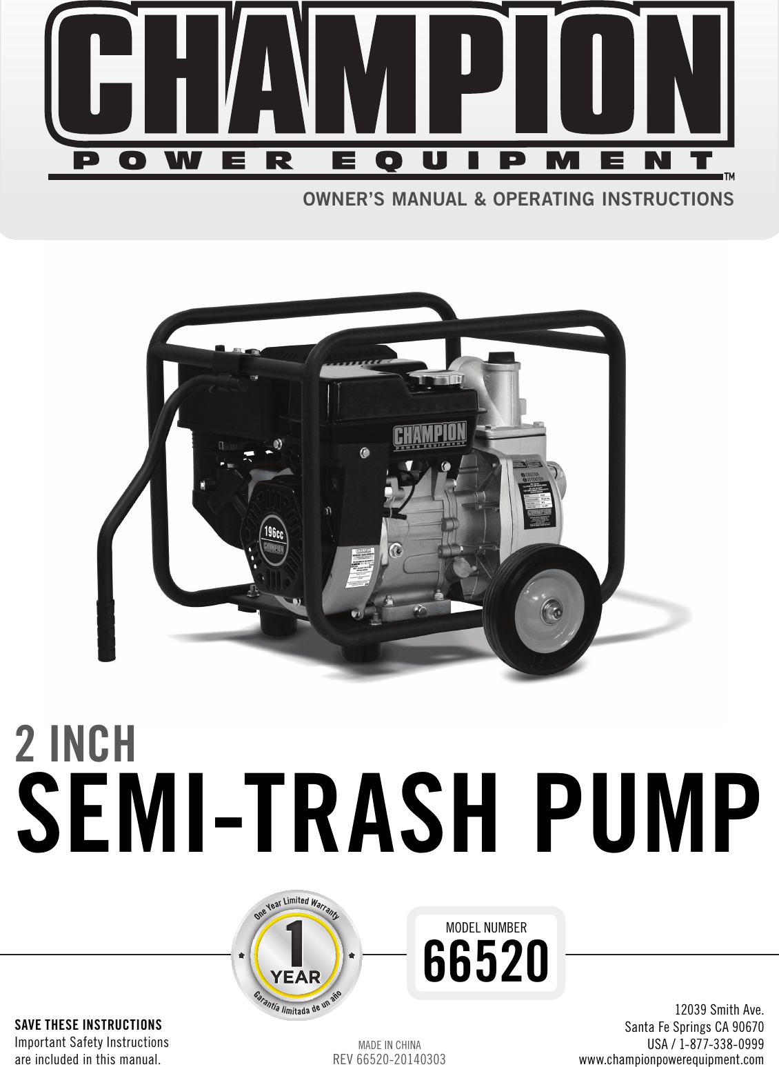 Champion Power Equipment 66520 Owners Manual