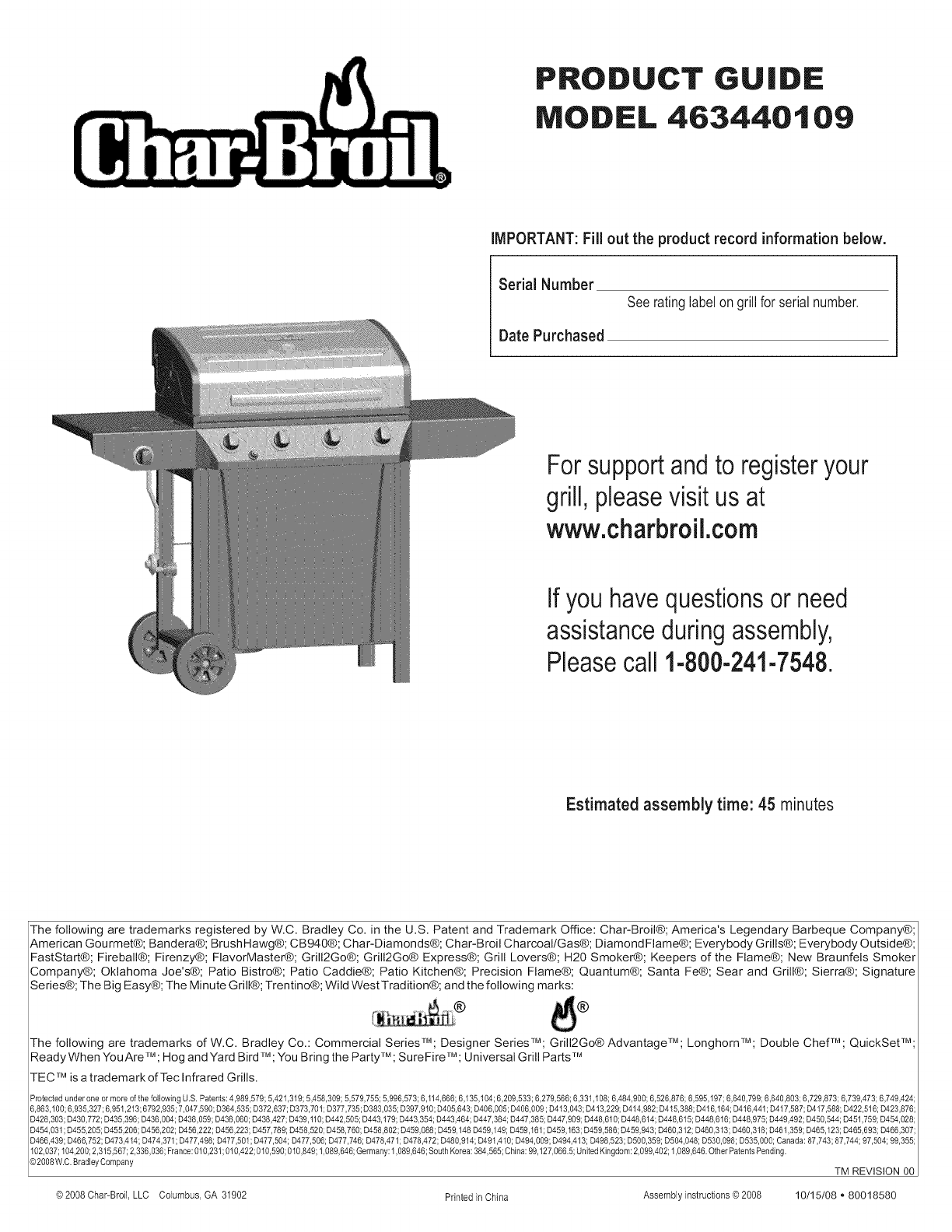 Product guide model 463741510 char-broil grills.
