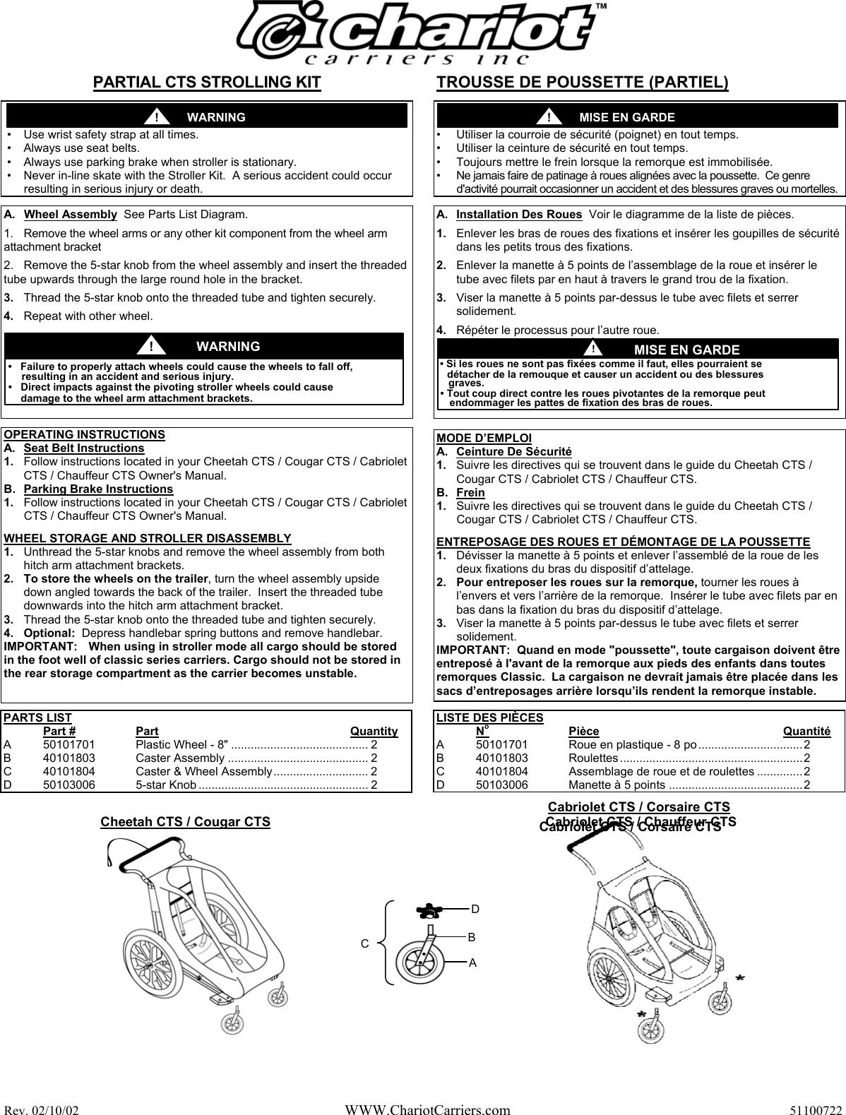 chariot carriers 51100722 users manual cheetah stroller conversion rh usermanual wiki Kindle Fire User Guide User Manual