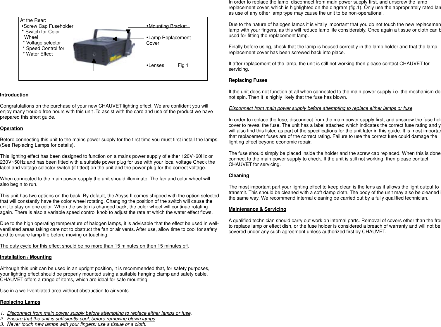 Chauvet Ch 444A Users Manual