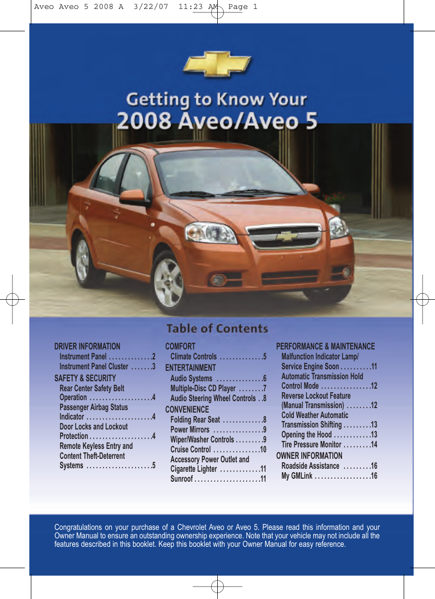 Chevrolet 2008 Aveo Get To Know Manual Guide