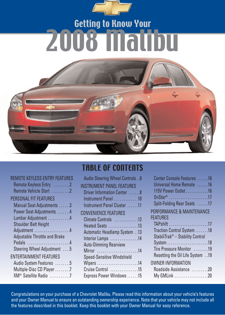 chevrolet malibu 2008 manual
