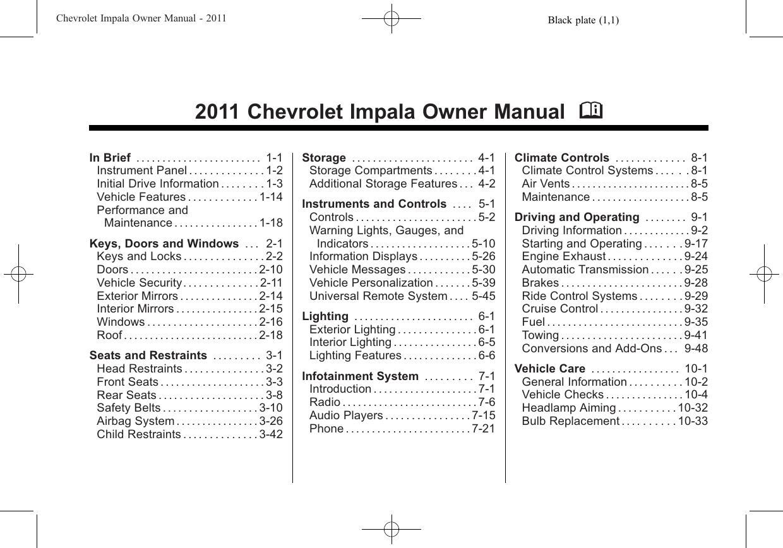 Chevrolet 2011 Impala Owners Manual Flasher Flaser Sen 12 Volt Universal