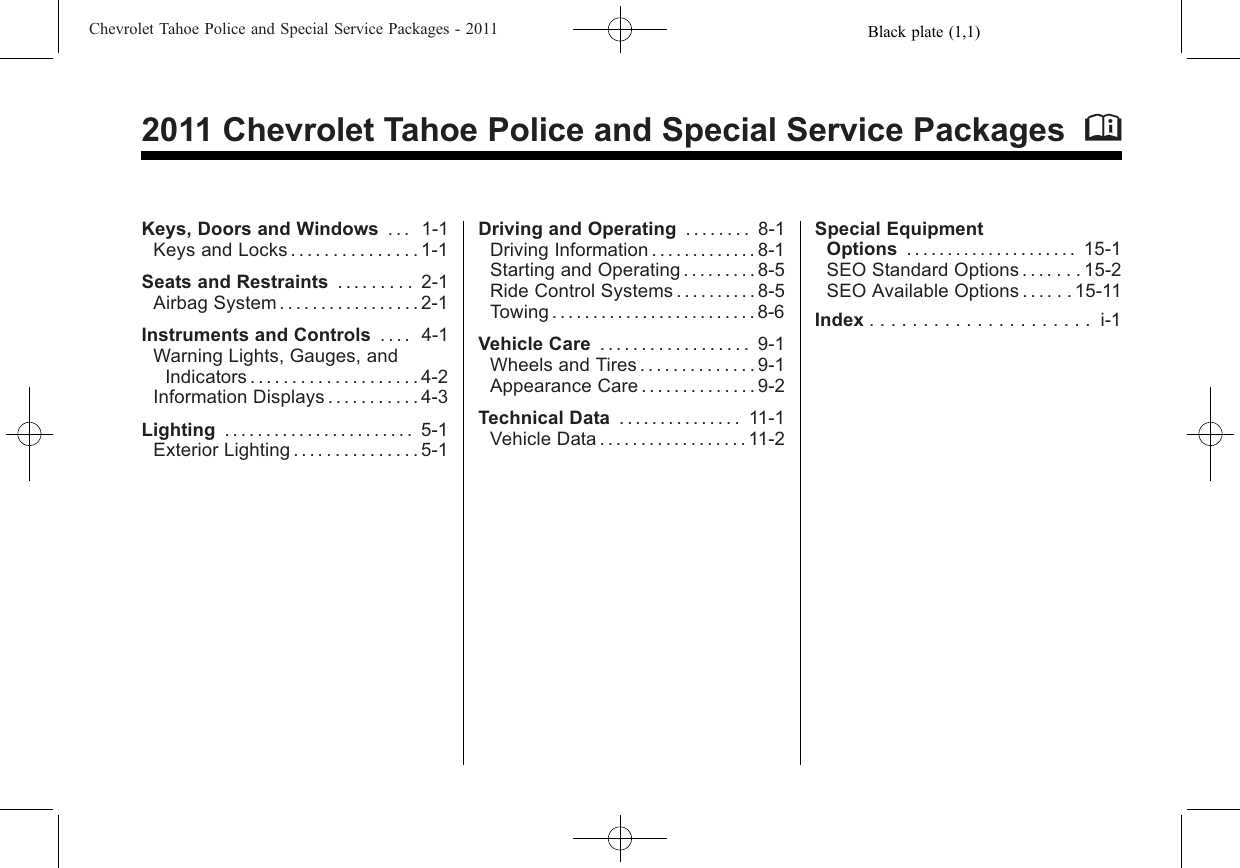 Chevrolet 2011 Tahoe Supplementary Manual 00 Introduction 14 Police Vehicle Diagram For Wiring