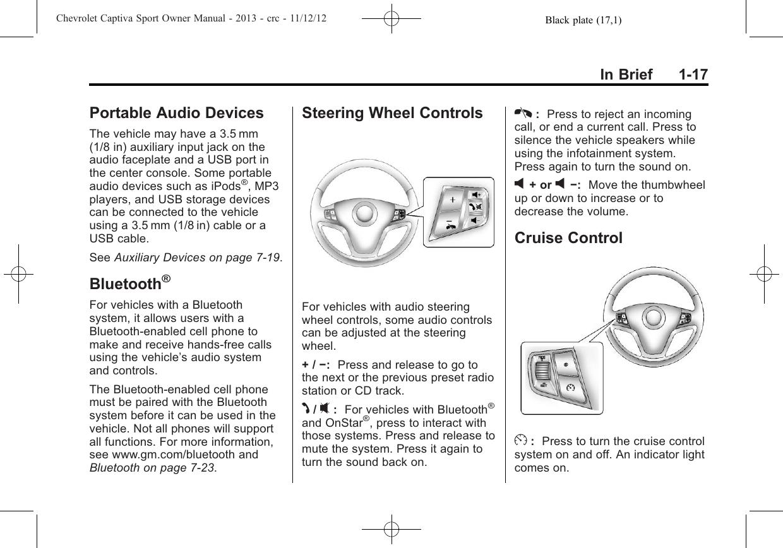 Chevrolet 2013 Captiva Sport Fleet Owners Manual Owner's