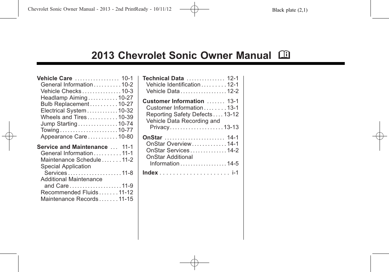 Chevrolet 2013 Sonic Owners Manual Owner's