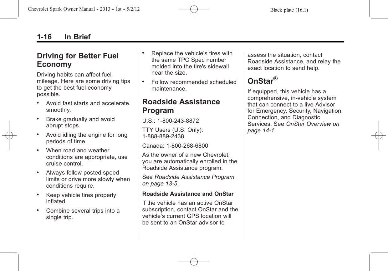 Chevrolet 2013 Spark Owners Manual Owner's