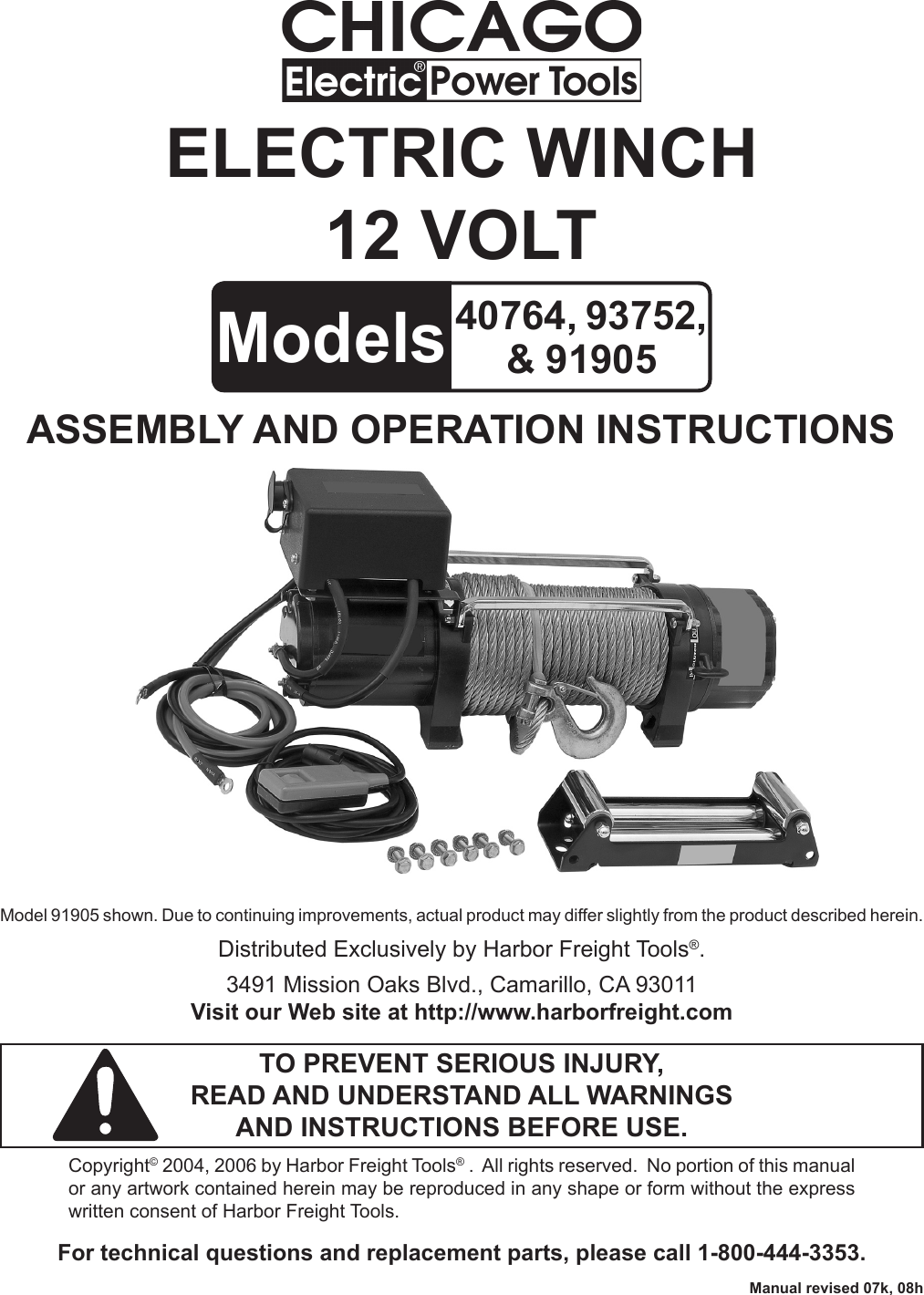 Chicago Electric 40764 Users Manual on harbor freight winch coupon, harbor freight electric winch, harbor freight badlands winch, warn 8000 lb winch,