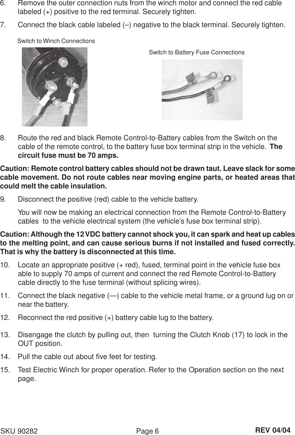 Chicago Electric 90282 Users Manual Winch Wiring Diagram Page 6 Of 9