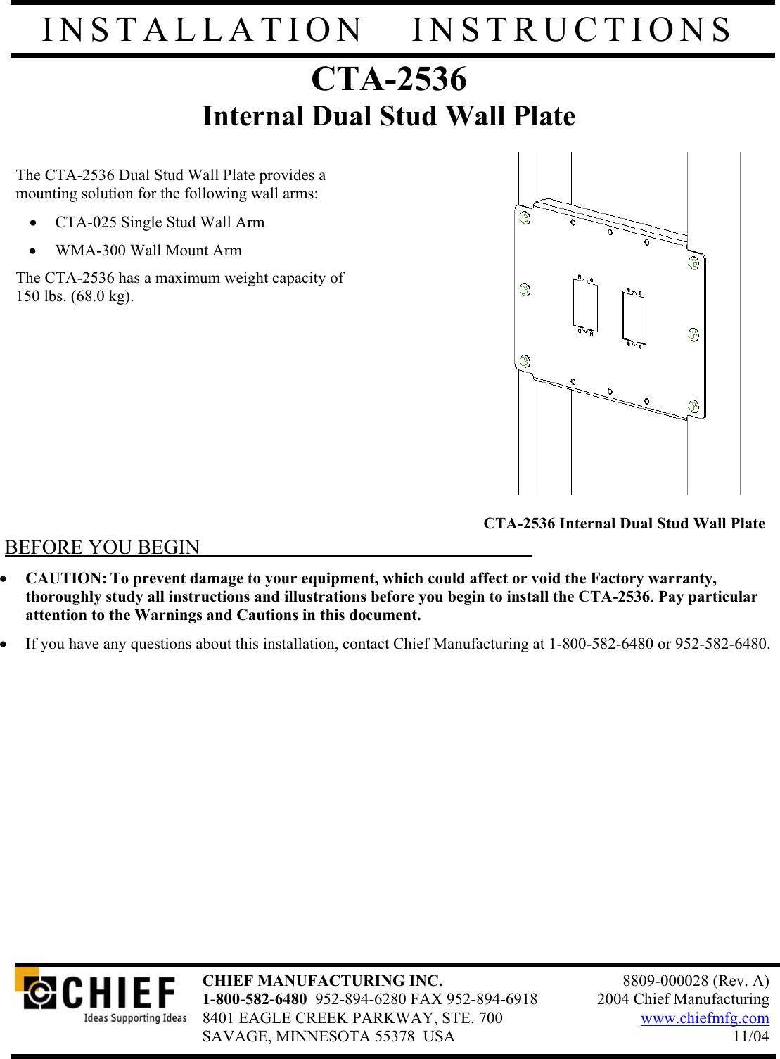 chief manufacturing cta 2536 users manual cta2536 installation rh usermanual wiki Manual Manufacturing Process Manufacturing Manual Labor