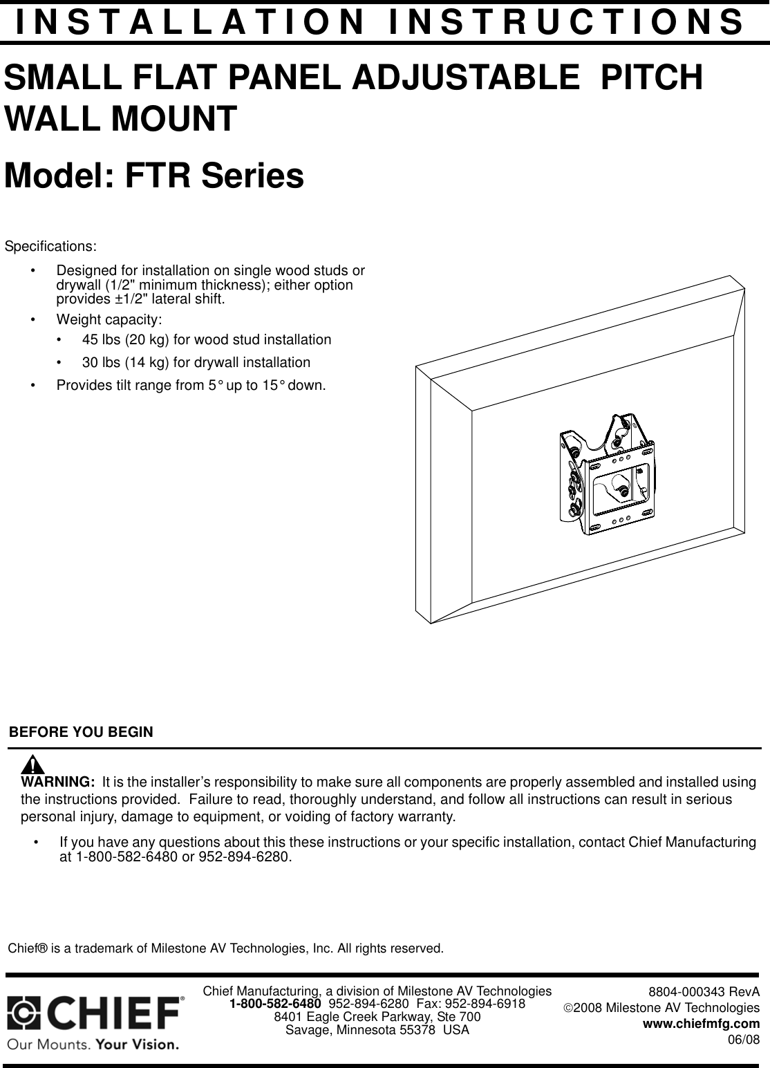 chief manufacturing ftr series users manual installation instructions rh usermanual wiki Manufacturing Facility Plane Manufacturing